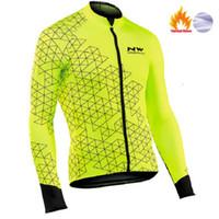 bisiklet jarse ceketi toptan satış-NW 2019 Pro ekip Erkekler Bisiklet Ceketler Kış Termal Polar Jersey Bisiklet Bisiklet MTB Bisiklet Giyim Ceket Northwave Isınma