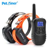 hundetrainer fernschock großhandel-Petrainer 998DB-2 Remote Pet Trainer Hundetrainings-Kragen für Hunde mit 100LV 2 Schock Vibration nachladbare wasserdichten