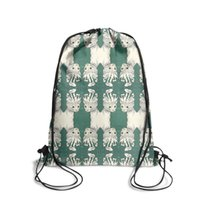 Wholesale cat drawstring backpacks resale online - Drawstring Sports Backpack Bohemian cat psychedelic green Popular Daily Limited Edition Pull String Backpack