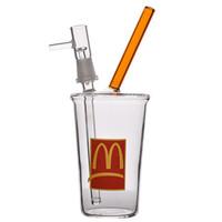 стеклянные трубы чашка кальяна оптовых-8 дюймов Небольшой Бонг МакДональдс Стеклянный Барботер Водяные бонги Стеклянный стакан Бонг Водопроводная труба Recycler Нефтяная вышка Downstem Honey Cup Кальян