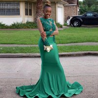 Wholesale purple prom dresses for sale - Green Long Sleeve Mermaid Prom Dresses New Lace Applique Beading Illusion Formal Evening Dress Black Girl Sweep Strain Stain Party Gown