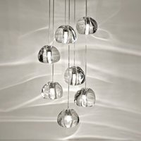 cortinas de la lámpara de techo de cristal de la vendimia al por mayor-Moderno loft de iluminación de la lámpara brillo bolas de cristal villa cocina sala de estar lámpara colgante escalera lámparas de cristal de largo