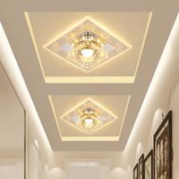 luces cuadradas de techo de cocina al por mayor-18 cm * 18 cm Cuadrado LLEVÓ la Luz del Techo de Cristal Entrace Lámpara de Pasillo Moderno Minimalista Corredor Lámpara de Techo Sala de estar Cocina Cristal Luz