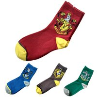 Wholesale harry potter women costume online - Harry Potter Socks Hogwarts Gryffindor Slytherin Ravenclaw Cosplay Costume Socks Magic School Striped Badge Sock Hosiery GGA1405