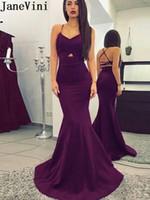 ingrosso vendita delle sirene di fascini-JaneVini Charming Purple Mermaid Abiti da sera scollo a V Spaghetti cinghie incrociate Abiti da ballo lunghi Elegante abito da sera Avond Jurken vendita