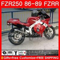 yamaha fzr al por mayor-Cuerpo para YAMAHA FZRR 250 FZR 250R FZR 250 1986 1987 1988 1989 123HM.46 FZR250RR FZR250R FZR-250 FZR250 stock marco rojo 86 87 88 89 Carenado