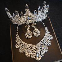 верхние диафрагмы тиары оптовых-Бестселлер высокого класса невесты свадьба корона ожерелье серьги из трех частей Кристалл сосулька Принцесса день рождения корона банкетный тиара бесплатная доставка