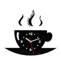 metal, relógios, paredes venda por atacado-Copo de café Relógio de Parede Espelho Relógio Bardian Decorar Único Lado Circular Sala de Cozinha Suprimentos de Metal Ponteiro Criativo 19ksC1