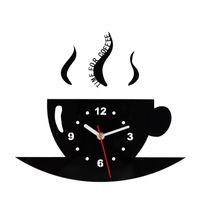 uhrzeiger großhandel-Kaffeetasse Wanduhr Spiegel Bardian Uhr Schmücken Einseitig Rund Wohnzimmer Küche Liefert Metall Zeiger Kreative 19ksC1