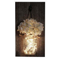 Wholesale stones for decorations for sale - Group buy Ins Rustic Mason Jar Wall Sconces With Led Fairy Lights Flowers For Country Home Wedding Cafe Bar Wall Bedroom Decoration Wooden