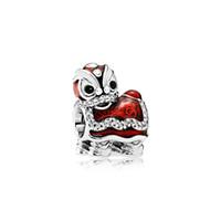 ingrosso fascino d'argento del leone-Autentico argento sterling 925 smalto rosso danza del leone Charms Scatola originale per Pandora European Bead Charms per accessori di creazione di gioielli