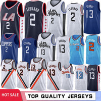 malhas de faca costuradas venda por atacado-NCAA 2 Kawhi Leonard College Jerseys 13 Paul George LA Clippers Basquete Jerseys Costurado 2019 Novo Basquete S-XXL Stock