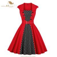ingrosso oscillazioni rosse-SISHION 50s 60s Cotton Vintage Dress VD1081 Sleeveless Women Polka Dots Rockabilly Swing Audrey Hepburn 1960 Party Red Dress