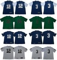 jersey de fútbol de élite blanco al por mayor-# 3 Joe Montana Notre Dame Fighting Irish 12 Ian Book College Camisetas de fútbol azul blanco verde Envío gratis Tamaño S a 3XL