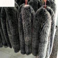 kadın tilki kürk eşarpları toptan satış-2019 100% Gerçek Doğal Fox Kürk Siyah Beyaz İpuçları Ile Kürk Yaka Hood Kadın Erkek ceket Kazak Atkılar için 70 cm Moda Zxx67