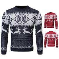 ingrosso maglione cinese-Mens Designer maglione di colore di Natale di stile dell'istituto universitario di tendenza di modo della gioventù Fit maglione caldo abbigliamento di stile cinese superiore 2020 Inverno