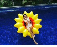 Wholesale sunflower kids toys for sale - Group buy 180cm Giant Sunflower Inflatable Swimming Ring Pool Float Tube Raft for Adult Kids Summer Water Party Fun Pool Toys Air Mattress sp2