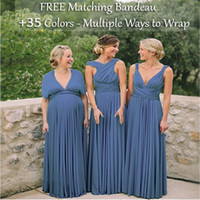 blaues umwandelbares kleid großhandel-Günstige Steel Blue Brautjungfernkleider, Infinity-Kleid, Multi-Way Cabrio Kleider, Multi Wrap Brautkleider Long Floor Brautjungfernkleid