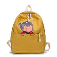 bonitos mochilas para meninas venda por atacado-Menina Coreana Versão bonito dos desenhos animados estudantes do ensino médio mochila lona mochila ombro grande capacidade