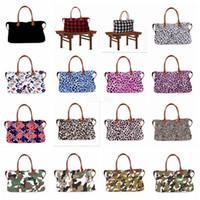Wholesale camouflage tote bags resale online - 22inch plaid Floral Leopard Duffel Bag styles Big Travel camouflage camo Tote animal print handbag Double Handles Weekenders Bag LJJA2542