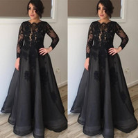 Wholesale mother bride jewel neckline for sale - Group buy Modest Black Long Sleeves Mother Of the Bride Dresses Lace Appliques Scoop Neckline Floor Length Mother Formal Evening Red Carpet Gowns