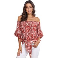 Wholesale bell suppliers resale online - European Women Off shoulder Tops Ethnic style Knot Blouse half Flare sleeve Hot selling China women clothing supplier