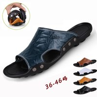 Wholesale sandals big bottoms for sale - Group buy 2019 Summer Shoes Leather Men Beach Sandals Hollow Slippers Soft bottom anti skid Sandalias male Outdoor Summer Flats Big size46