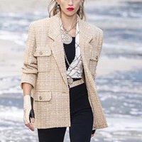 nuevos blazers de invierno al por mayor-2019 New Runway Otoño invierno Tweed Blazer Chaquetas Mujeres Traje Cuello a cuadros Blazers Abrigos Manga larga Blazers sueltos Ropa de abrigo