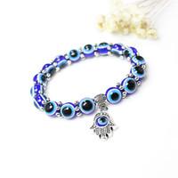 Wholesale blue evil eye jewelry for sale - Group buy 2019 Fashion Turkey Evil Blue Eyes Beads Bracelets Men Women Religious Hamsa Hand Charms Bracelet Bangles Jewelry