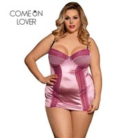 ingrosso cinghie in argento satinato-Comeonlover Satin Lingerie Strap Sexi Dress Hot 2 pezzi Pizzo Patchwork Sexy Lingerie Mini Dress Bra Pad Baby Doll Mujer R80394