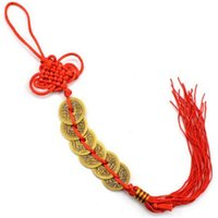 Wholesale ancient coin charms resale online - 300pcs Good Fortune Red Chinese knot FENG SHUI Set Of Lucky Charm Ancient I CHING Coins Prosperity Protection wa3638