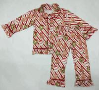 ingrosso pigiami organici-2019 ultimi abiti natalizi per bambini Bottone pigiama pigiama in cotone biologico boutique di Natale set da 2 pezzi