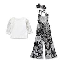 ingrosso camicia bianca stampata per i bambini-New Toddler Kids Girl Summer maniche lunghe pizzo bianco Camicia Top + stampato flare Pant Bell-bottom 2 pezzi Set di abbigliamento di moda