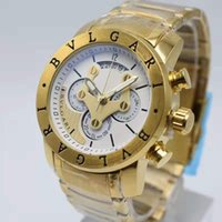 Wholesale military belt buckles resale online - Golden Men Watch Waterproof Shockproof Chronograph Male Sports Watches Mens Steel Belt Business Gold Mens Watch Military