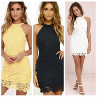 Wholesale hanging line lights resale online - Hot sale hanging neck slim pencil skirt sexy sleeveless skirt large size lace dress top quality