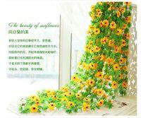 ingrosso artificial plants ivy-Commercio all'ingrosso 1 PCS 2.4M Girasole Seta artificiale Fiori finti Foglia di edera Ghirlanda Piante Home Decor