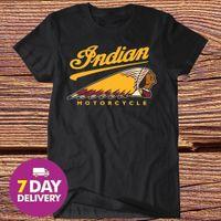 индийская принт хлопок t рубашка оптовых-Индийский мотоцикл футболка старинные лучшие логотип мотоцикл тройник мужчины черный Все размер O-образным вырезом мода печатных мужская хлопок футболка шею мужчины