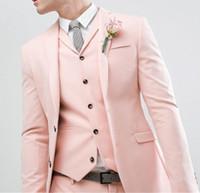 último estilo de corbatas al por mayor-Caballeros 2019 Nuevo estilo Perla Rosa Boda Traje para hombre Novios Esmoquin Novio Último diseño Slim Fit Blazer Tux (chaqueta + pantalón + chaleco + corbata)
