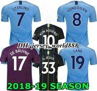 Wholesale BERNARDO KUN AGUERO G JESUS Home blue Soccer Jersey RD SANE STERLING SILVA KOMPANY DE BRUYNE CITY MAHREZ Away football shirt