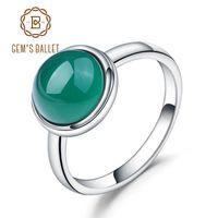 2f9c7bc7cb59 anillo ágata libra esterlina al por mayor-Ballet de gema Natural Ágata  Verde Anillo de
