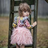 kinder rosa kleid für kinder großhandel-Einzelhandel Kinder Luxus-Designer-Kleidung Mädchen Tutu Röcke Baby INS Rosa-Pelz-Ballkleid faltete Prinzessin Kleid Rock Kinderkleidung