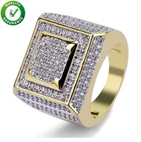 Wholesale bling wedding rings for sale - Group buy Hip Hop Mens Jewelry Rings Luxury Designer Fashion Gold Plated Iced Out Full CZ Diamond Finger Ring Bling Cubic Zircon Love Ring Wedding