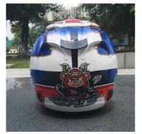 meia capacetes xxl moto venda por atacado-Mais recente Chegada da motocicleta capacete retro capacete pegatinas meio capacete off road profissional rali de corrida