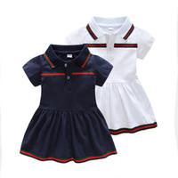 vestidos casuales para niños niñas al por mayor-Diseñador de bebés vestidos de manga corta camisas de los niños de moda vestido de niña para niñas rayas verdes niños ropa vestido causal