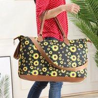 seyahat için iç çamaşırı çantası toptan satış-Taşınabilir Ayçiçeği Baskılı Seyahat Organizatör Makyaj Çantası Büyük Kapasiteli Kozmetik Çanta Yıkama Çanta Tuval İç Saklama Çantası RRA1670