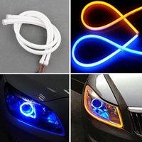 drl şeritler toptan satış-Angel Eye 2x Gündüz Işık Evrensel Tüp Kılavuzu Yumuşak ve Esnek Araba Şerit LED DRL Beyaz ve Sarı dönüş sinyali ışık Koşu