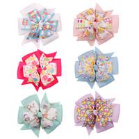 Wholesale pinwheel flower resale online - 4 Pinwheel Hair Accessories Easter Day Hair Clips For Kids Girls Printed Rabbit Eggs Hair Bows Handmade Hairgrips