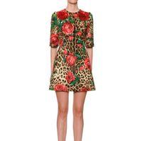 shorts de lantejoulas venda por atacado-High End Designer 2019 Vermelho Mangas Curtas Estampa de leopardo Vestido das Mulheres de Milão Runway Rosas Lantejoulas Vestidos De Festa yy-14