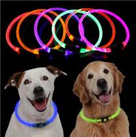 colar usb venda por atacado-Coleira de Cachorro LED Recarregável USB Brilhante Dog Pet Collar para Segurança Noturna Moda Light Up Collar para Pequeno Médio Grande cão