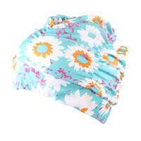 купальный колпак мода оптовых-Women Swimming Cap Pleated Long Hair Elastic Stretch Hat Adult Bathing Beach Pool Nylon Fashion Flower Printed